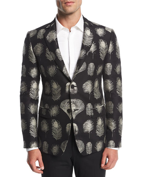 Alexander McQueen Feather-Print Jacquard Evening Jacket