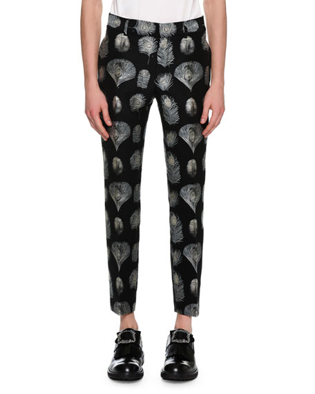 Alexander McQueen Feather Jacquard Slim Pants