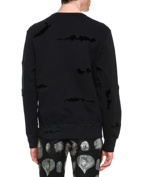 Distressed Patched Pullover Sweatshirt
