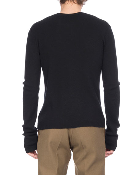 Ribbed Cashmere Crewneck Sweater, Black