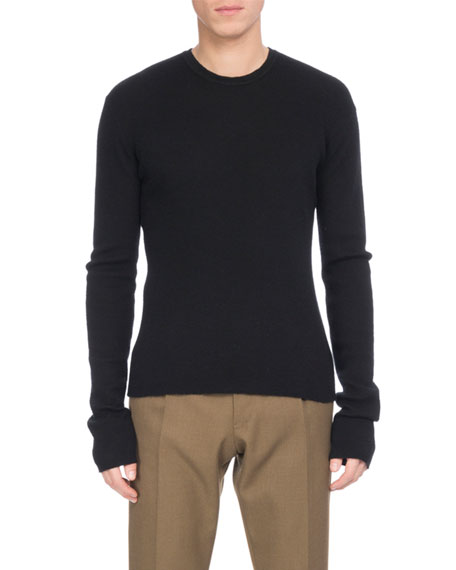Berluti Ribbed Cashmere Crewneck Sweater, Black