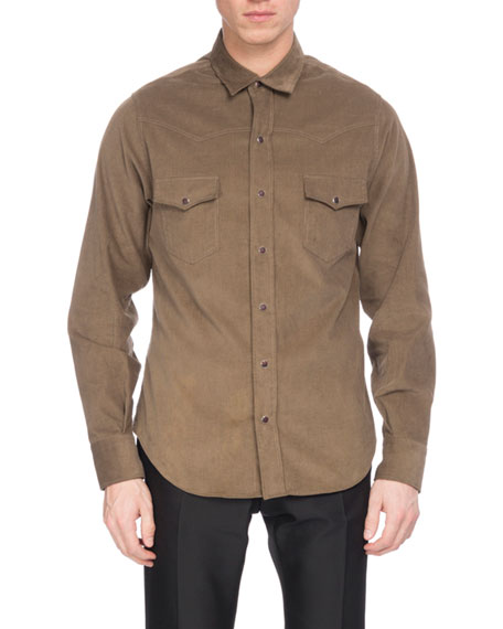 Berluti Corduroy Western Shirt, Bronze