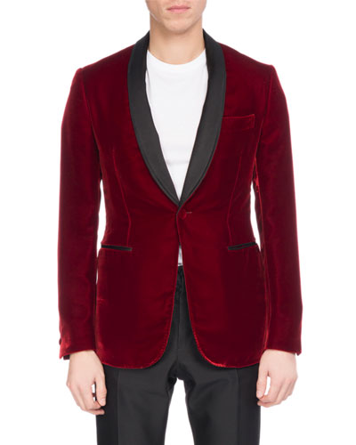 Velvet Tuxedo Jacket with Leather Lapel