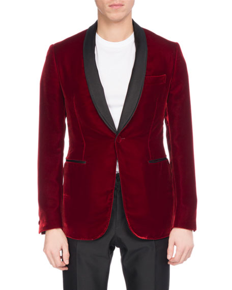 Velvet Tuxedo Jacket with Leather Lapel