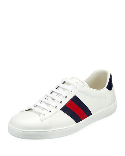 Men's New Ace Leather Low-Top Sneakers, White Pattern