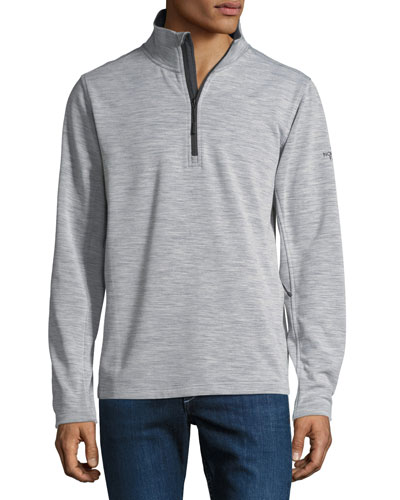 FlashDry Wool-Blend Quarter-Zip Pullover, Light Gray Heather