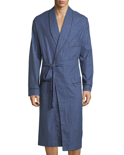 Brushed Flannel Robe, Navy
