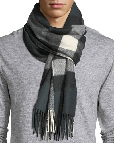 Men's Half Mega Check Cashmere Scarf, Green