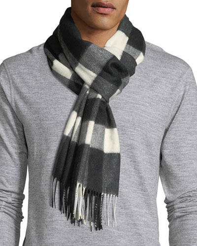 Men's Half Mega Check Cashmere Scarf, Black Pattern