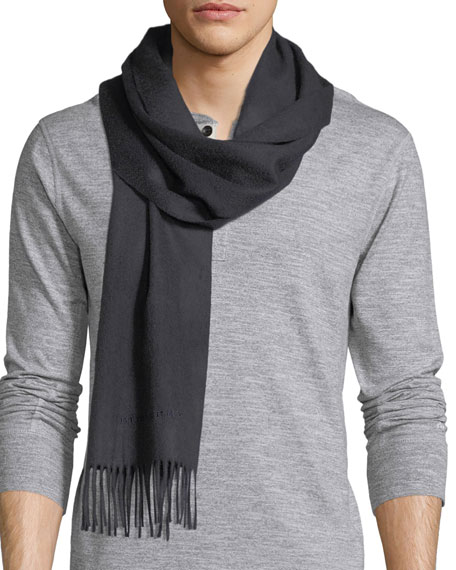 Men's Solid Logo Embroidery Cashmere Scarf, Navy