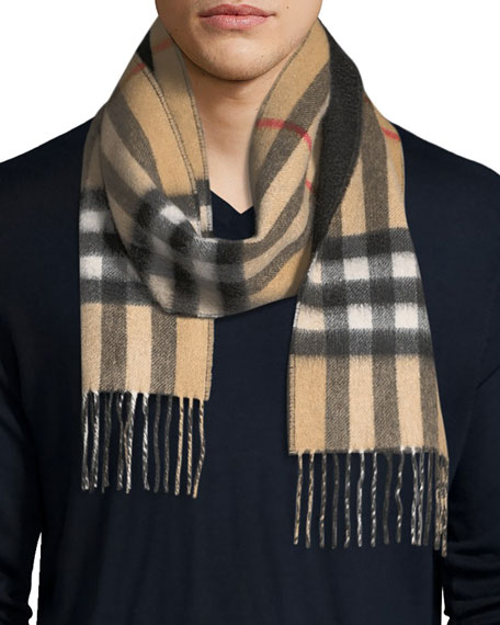 Burberry Men's Slim Cashmere Check to Solid Scarf,