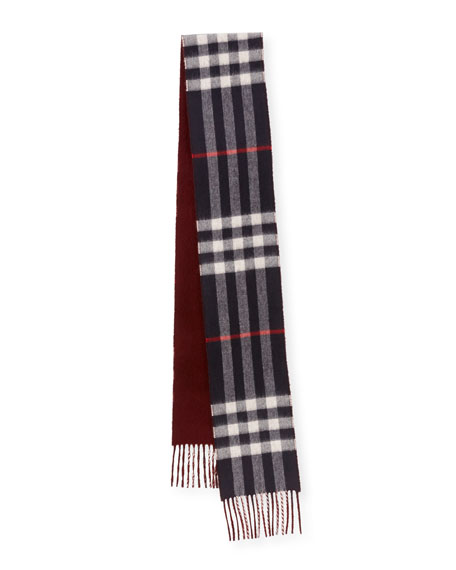 Men's Slim Cashmere Check to Solid Scarf, Blue Pattern