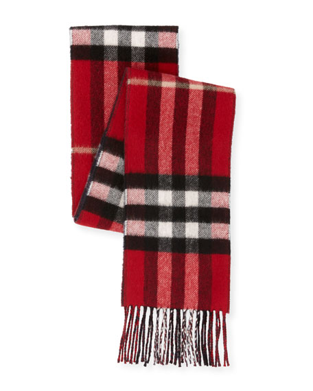 Men's Slim Cashmere Check to Solid Scarf, Red Pattern