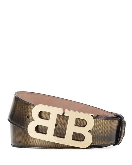 Bally Mirror B Embossed Belt, Gold