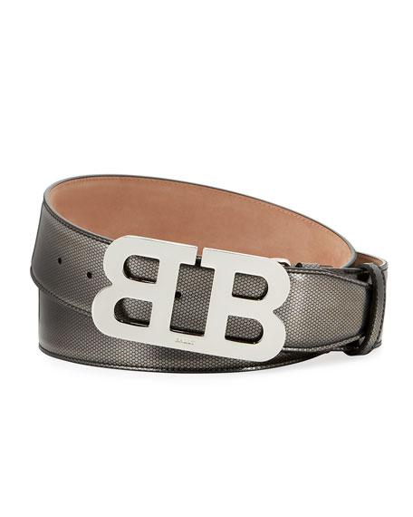 Mirror B Embossed Belt, Silver
