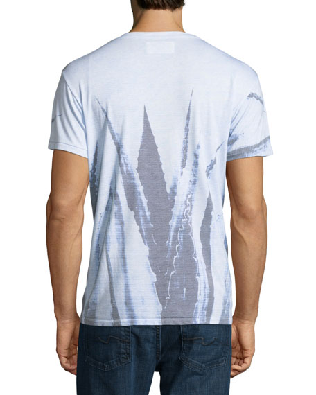 Agave Leaves Printed V-Neck T-Shirt