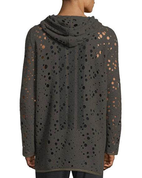 Distressed Wool Jersey Hoodie