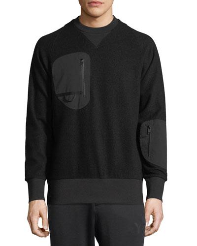 Wool Jersey Zip-Pocket Sweatshirt