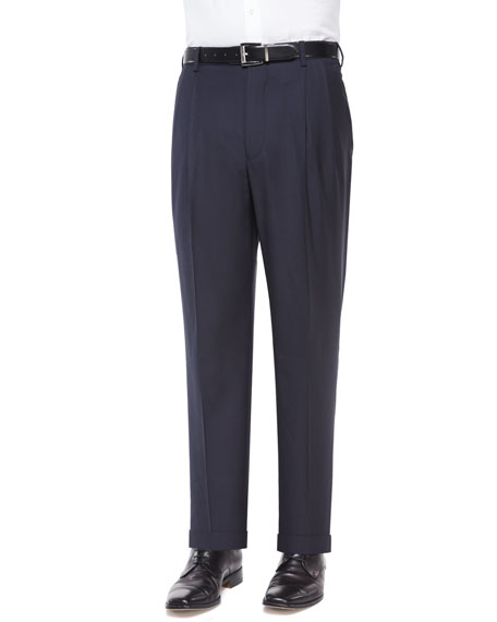 Bennett Pleated Super 150's Trousers, Navy