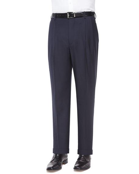 Bennett Pleated Super 150's Trousers, Navy
