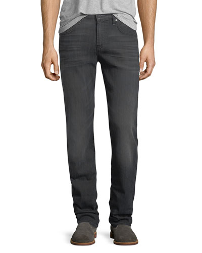 Straight-Leg Airweft Denim Jeans, Halide Gray