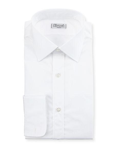 Poplin Barrel-Cuff Dress Shirt, White