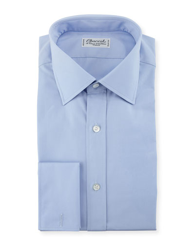 Poplin French-Cuff Dress Shirt, Blue