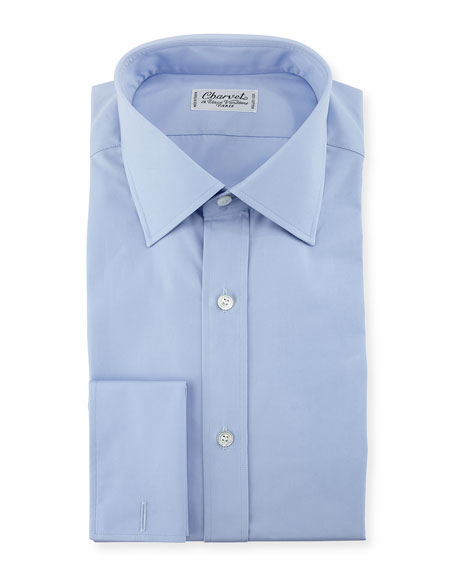 Charvet Poplin French-Cuff Dress Shirt, Blue