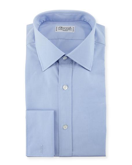 Poplin French-Cuff Dress Shirt, Blue