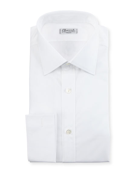 Charvet Poplin French-Cuff Dress Shirt, White