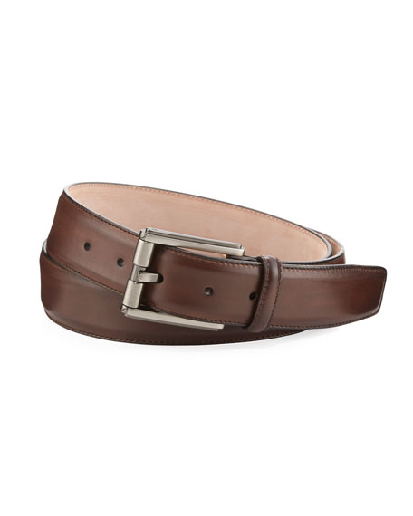 Butterlight Square-Buckle Calf Leather Belt