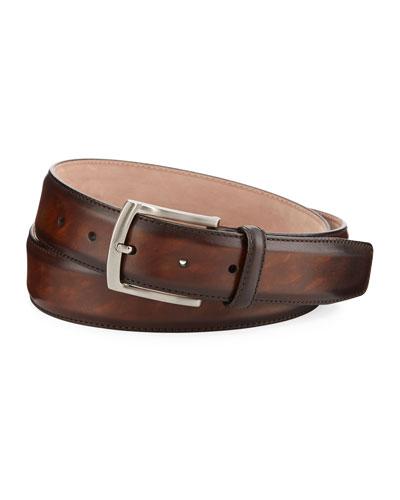Arcade Square-Buckle Calf Leather Belt