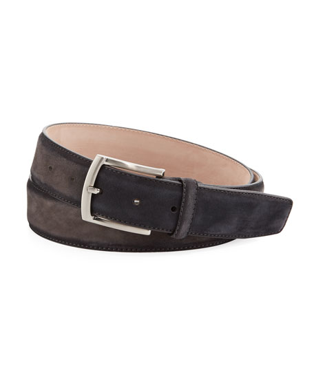 Magnanni for Neiman Marcus Anthumington Square-Buckle Suede Belt