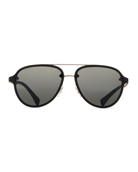 4749f8697ed Prada Linea Rossa Ps51os Polarised Aviator Sunglasses Black