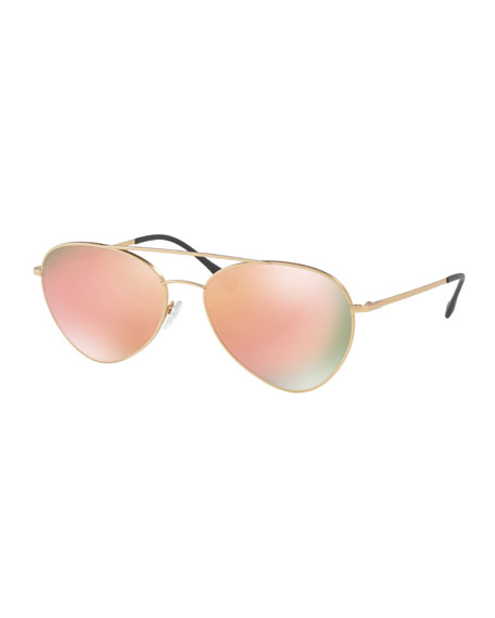 Prada Linea Rossa Men's Spectrum Pilot Sunglasses, Gold