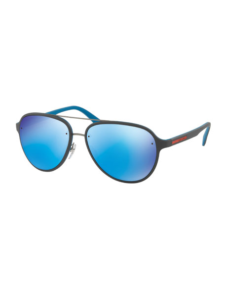Prada Linea Rossa Men's Aviator Sunglasses, Gray/Blue