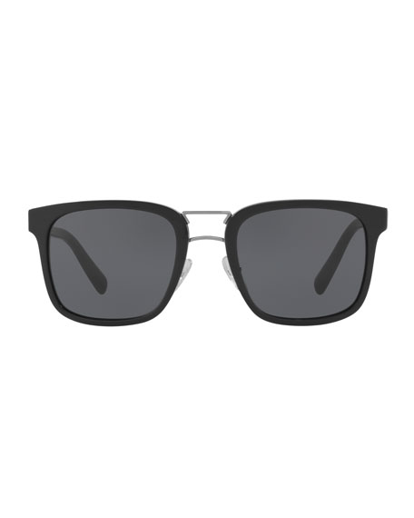 Men's Oversized Square Acetate Sunglasses, Black
