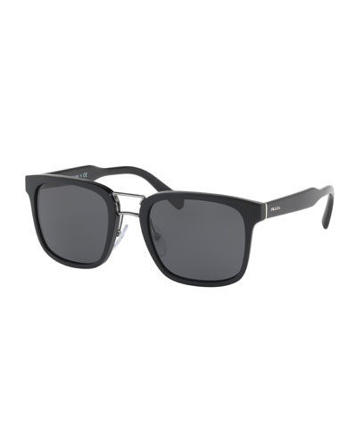 Men's Oversized Square Acetate Sunglasses, Black