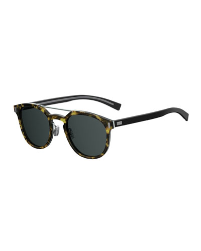 Black Tie Round Brow-Bar Sunglasses