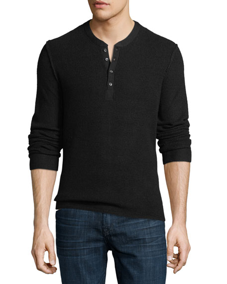 OVADIA & SONS Zack Knitted Wool Sweater in Black