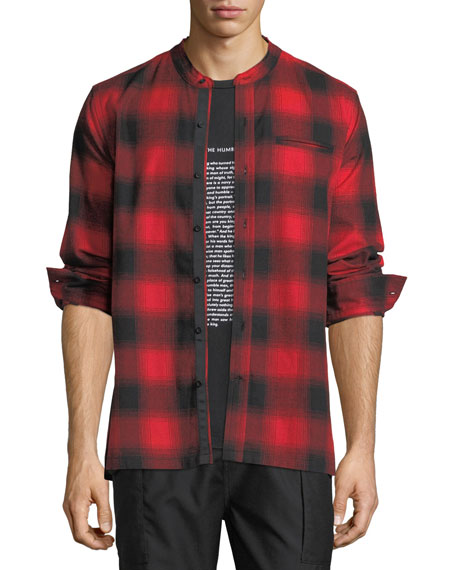 Ovadia & Sons Crosby Raw-Edge Plaid Shirt