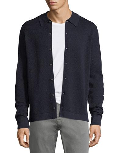 Collared Pique Wool-Silk Cardigan