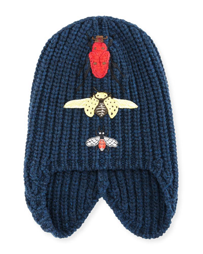 Cusco Knit Beanie Hat w/ Bug Appliqués