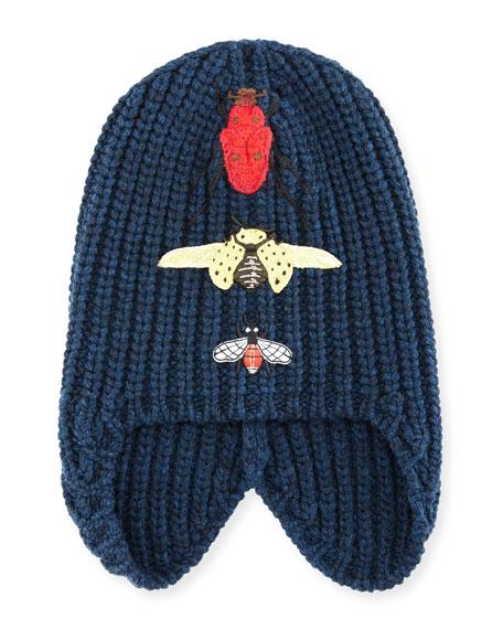 Gucci Cusco Knit Beanie Hat w/ Bug Appliqu??s