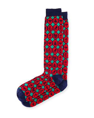 Cotton-Blend Socks with Geometric Animals Motif