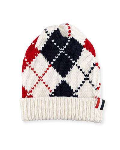 Cashmere Argyle Intarsia-Knit Beanie