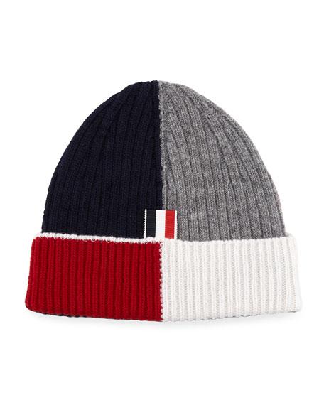 Wool Funmix Rib-Knit Beanie Hat