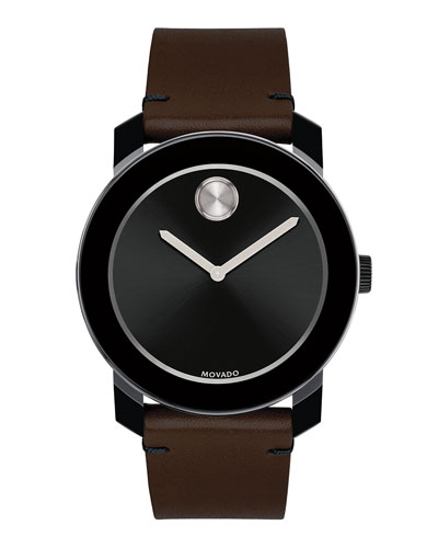 42mm Bold Watch with Leather Strap, Brown/Black