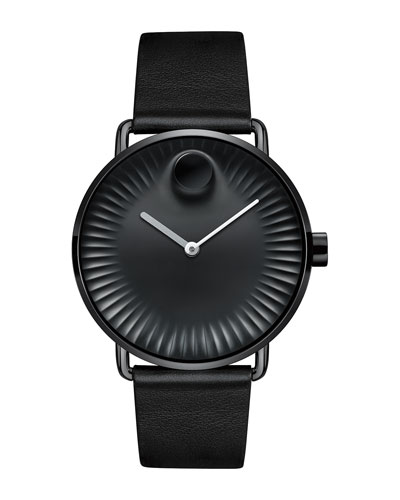 40mm Edge Watch with Leather Strap, Black