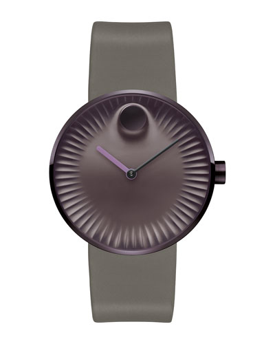 40mm Edge Watch with Silicone Strap, Purple/Coffee